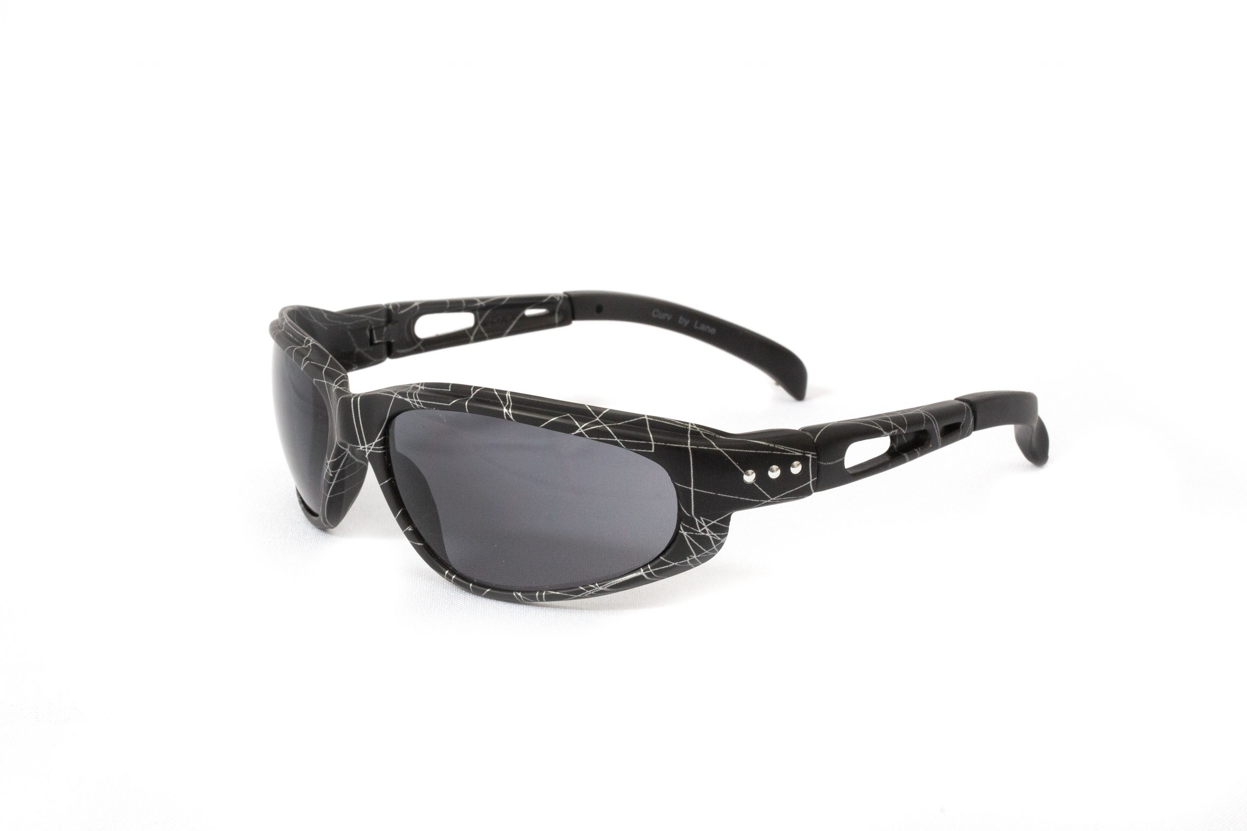 01-59 - Curv Black Laser Sunglasses with Smoke Lenses and Matte Black Laser Design Frames