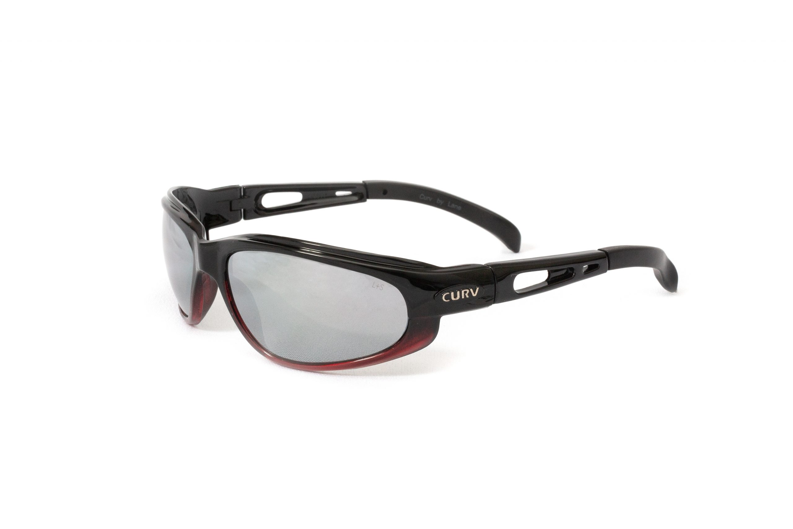 01-79 - Curv Red Accent Sunglasses in Matte Black Frames with Red Accent Fade and Smoke Lenses