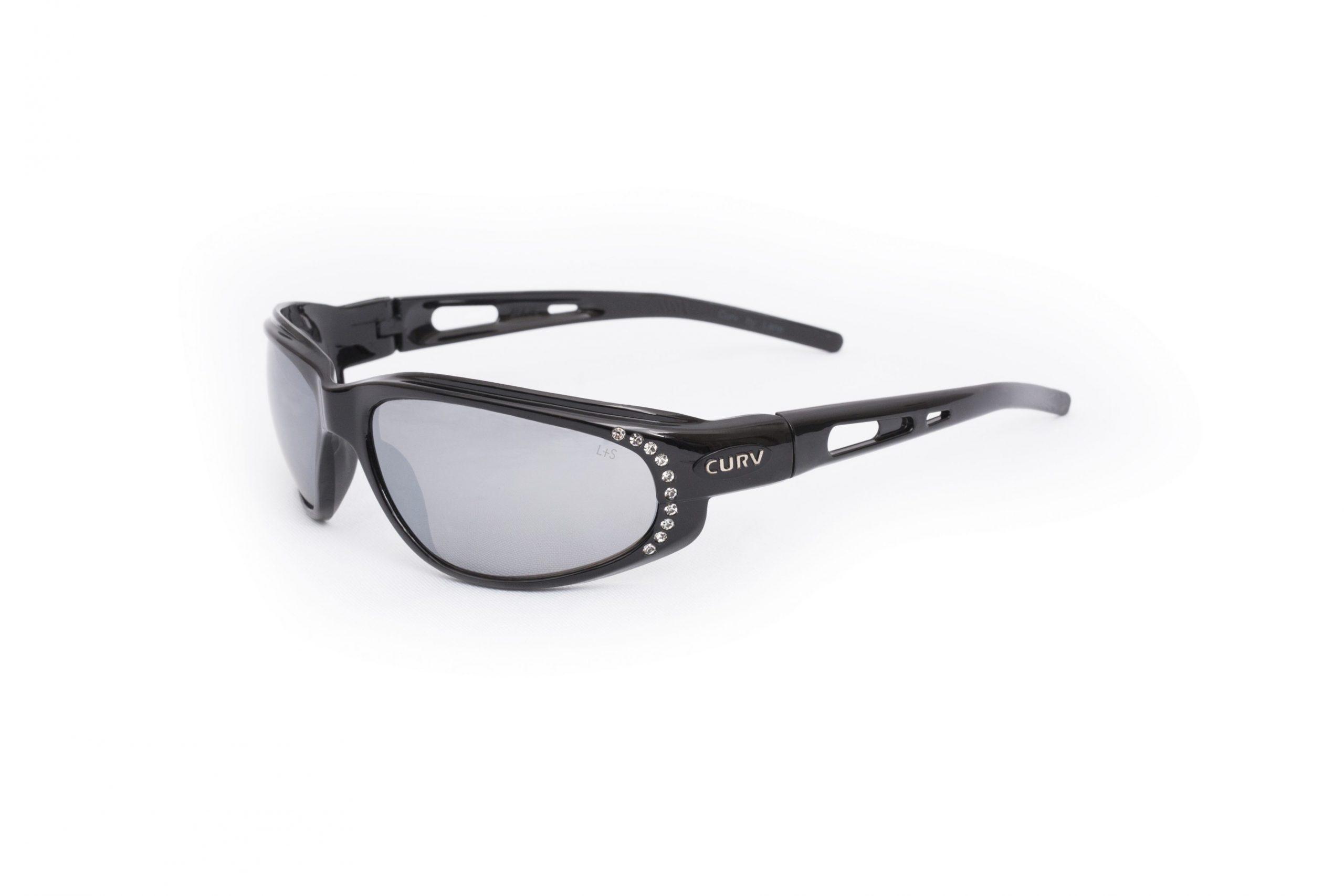 01-33 - Curv Black Rhinestone Sunglasses with Flash Mirror Lenses and Glossy Black Frames