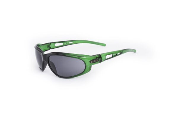 01-40 - Curv Crystal Green Sunglasses with Smoke Lenses