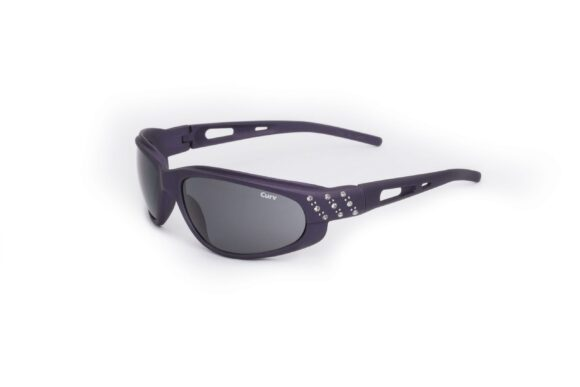 01-47 - Curv Purple Rhinestone Sunglasses with Smoke Lenses and Soft Touch Frames
