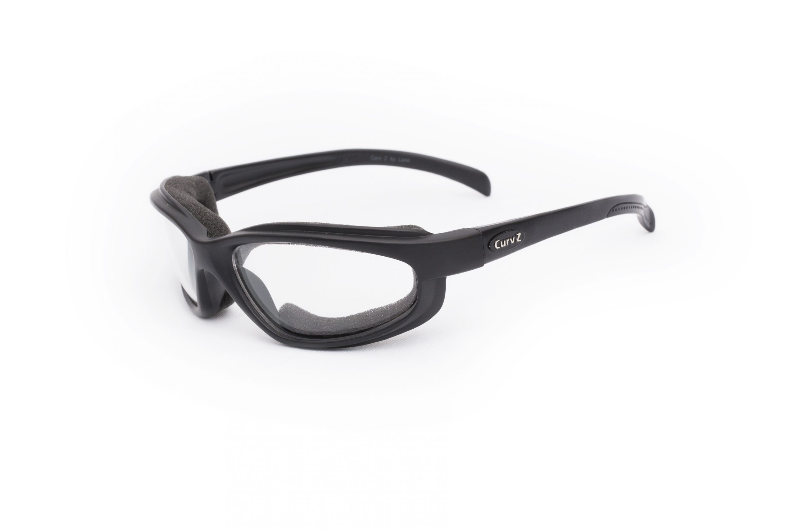 02-02 - CurvZ Clear Foam-Lined Sunglasses with Clear Lenses and Matte Black Frames