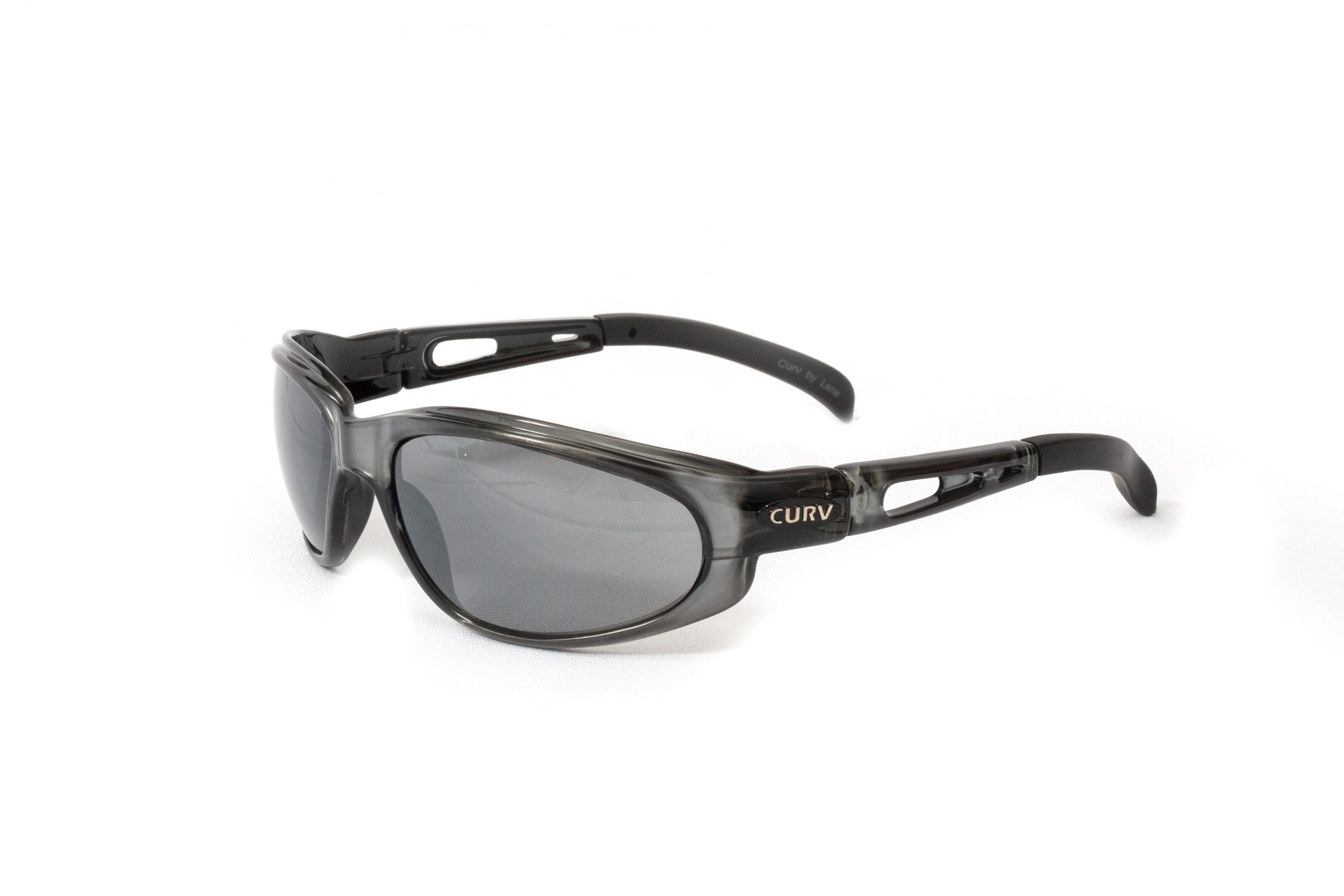 01-29 - Curv Crystal Grey Sunglasses with Flash Mirror Smoke Lenses and Crystal Grey Frames