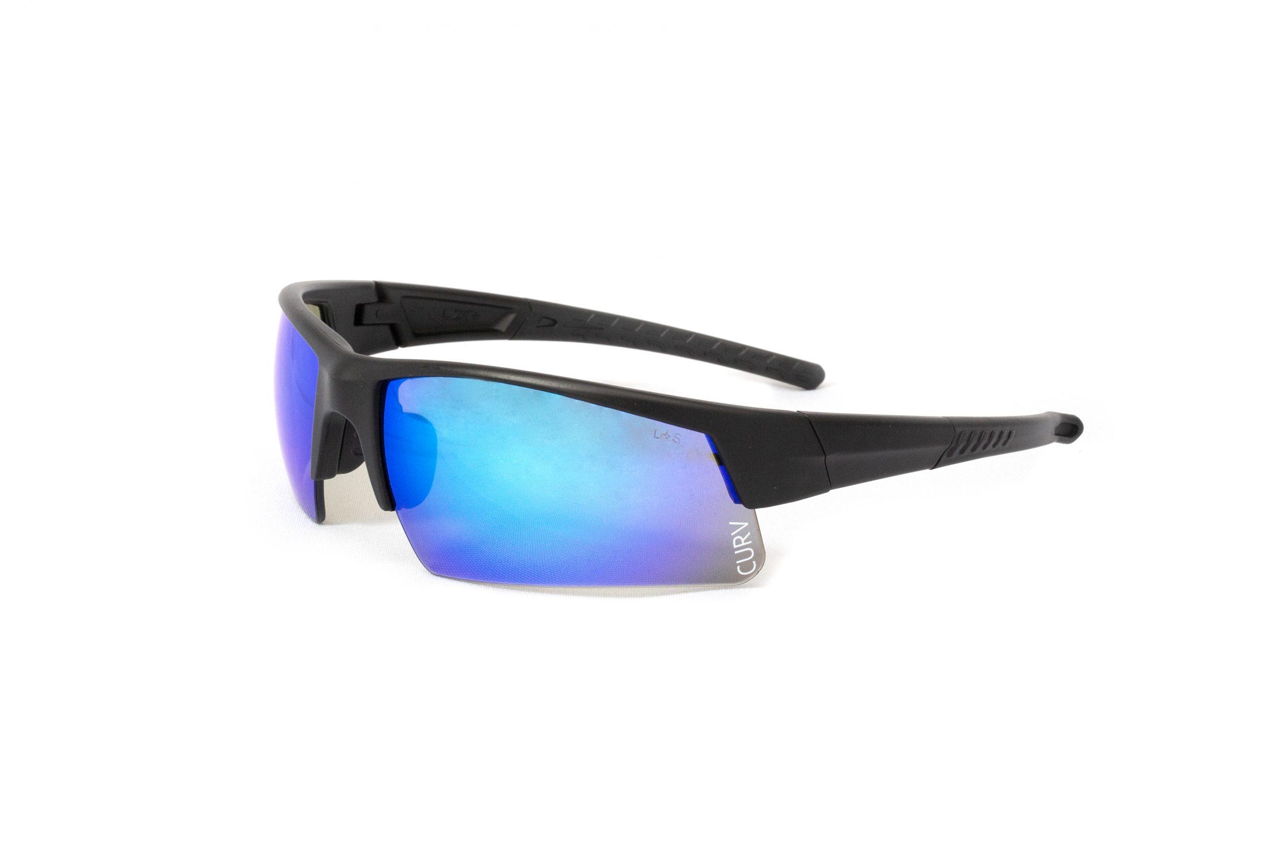 01-68 - Curv® - Matte Black Sport Frame with Half-Rim Blue Lenses