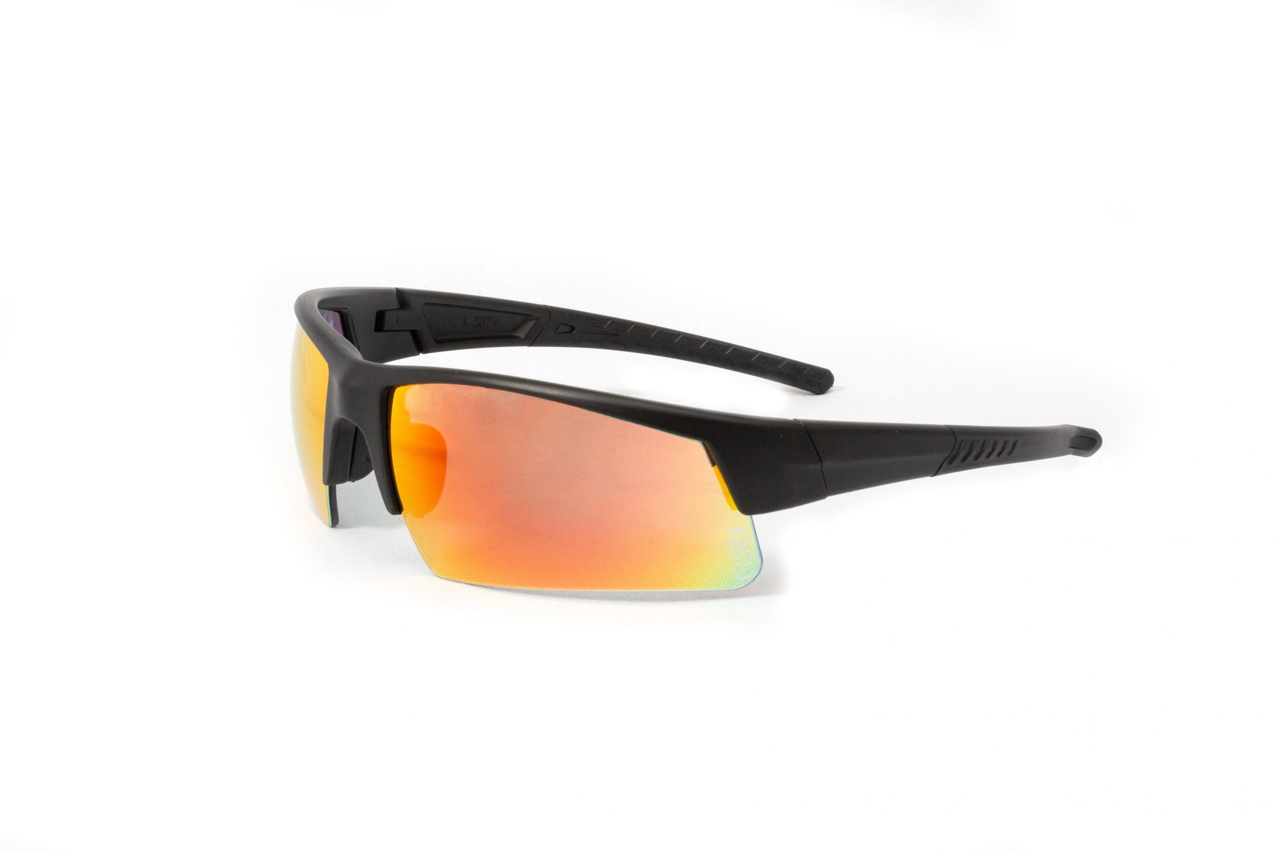 01-67 - Curv® - Matte Black Sport Frame with Half-Rim Red Mirror Lenses
