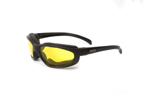02-04 - CurvZ Yellow Foam-Lined Sunglasses with Yellow Lenses and Matte Black Frames
