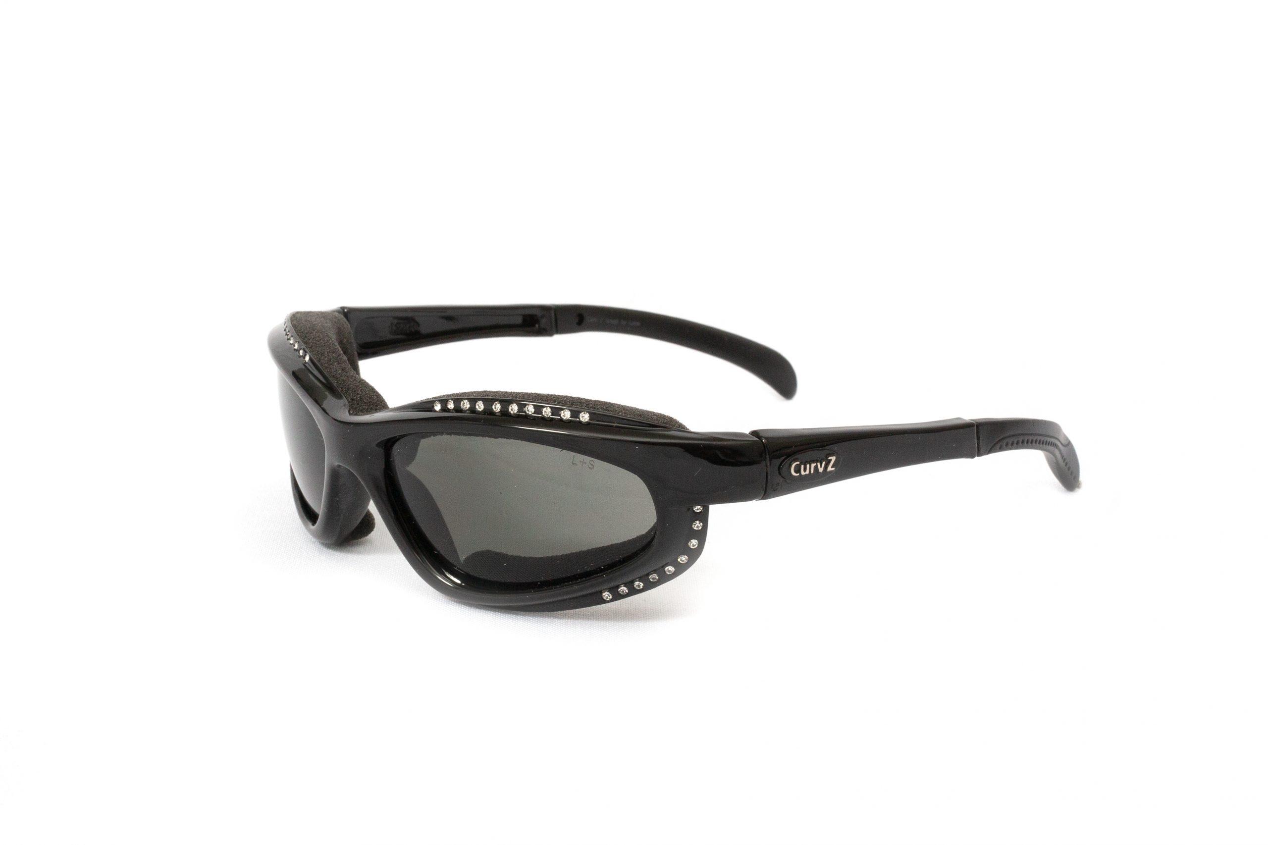 02-18 - CurvZ Small Rhinestone Sunglasses with Smoke Frames and Matte Black Frames with Rhinestones
