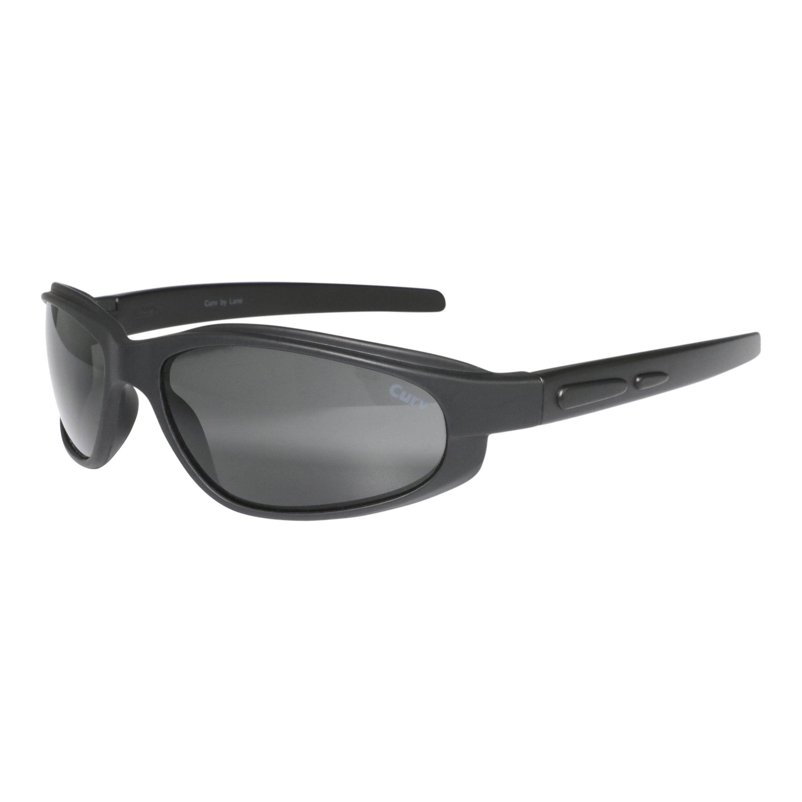 01-17G - CurvEX Black Glossy Sunglasses with Smoke Lenses, Glossy Black Frames and Black Accent