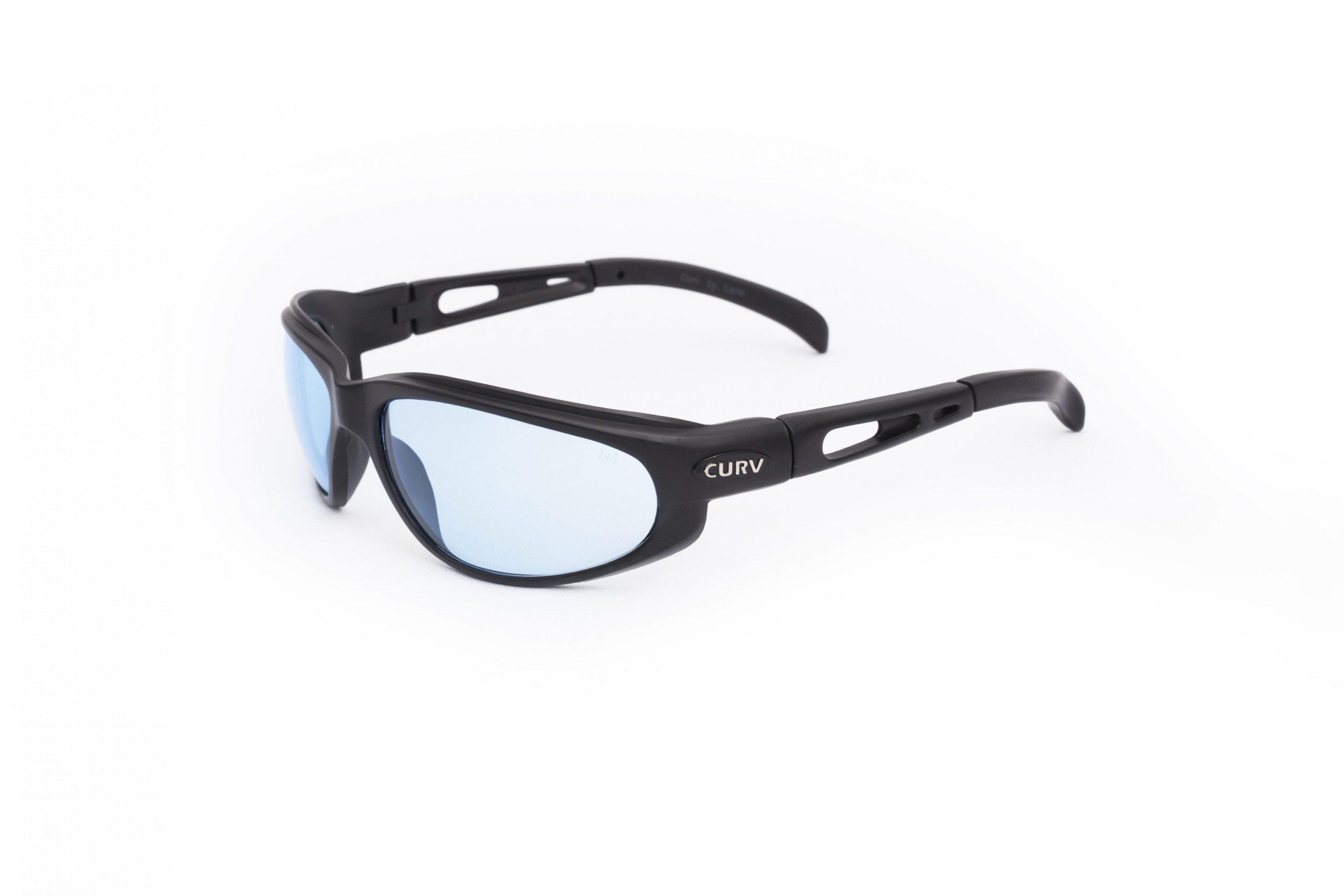 01-03 - Curv Blue Lens Sunglasses with Matte Black Frames