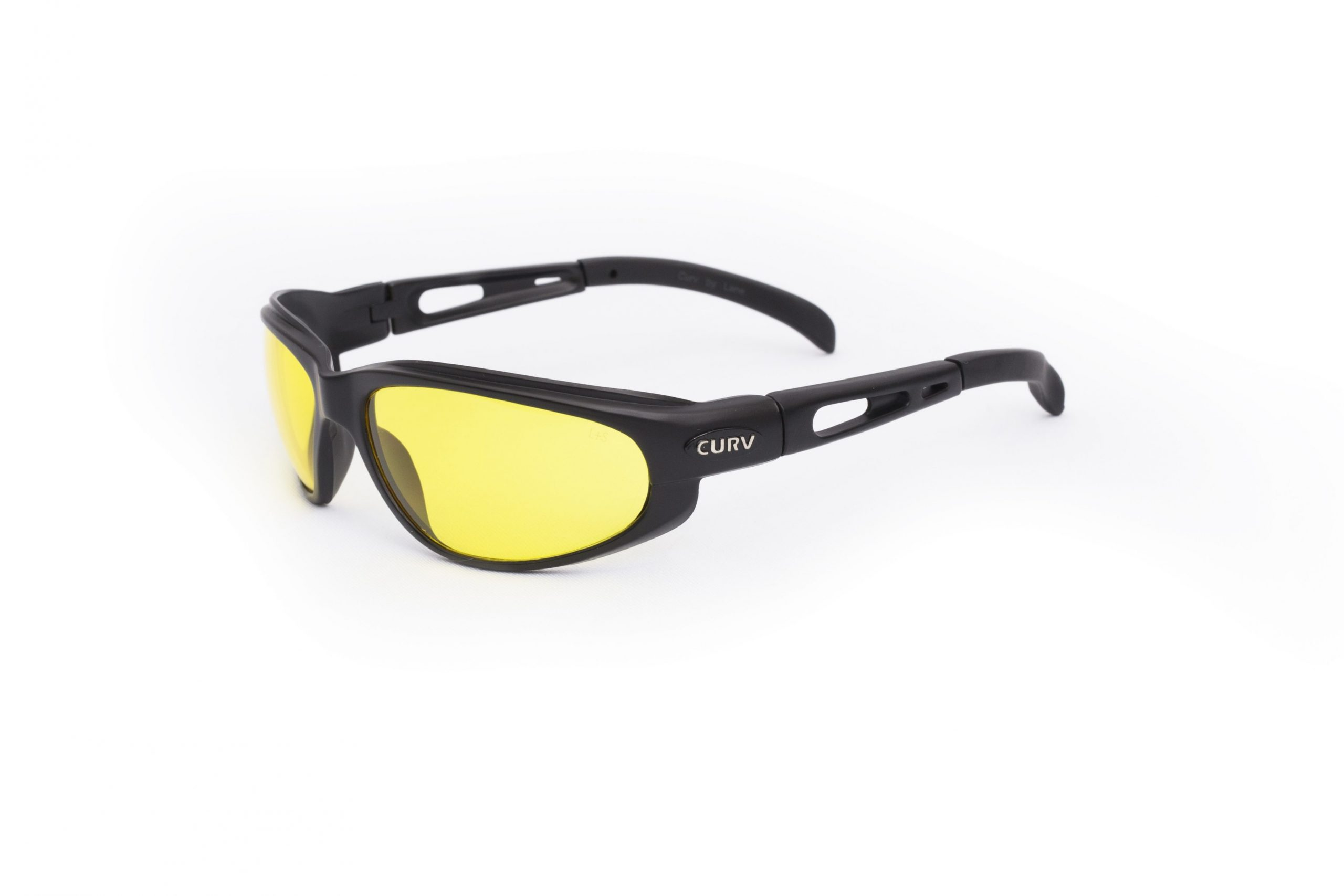 01-04 - Curv Yellow Lens Sunglasses with Matte Black Frame