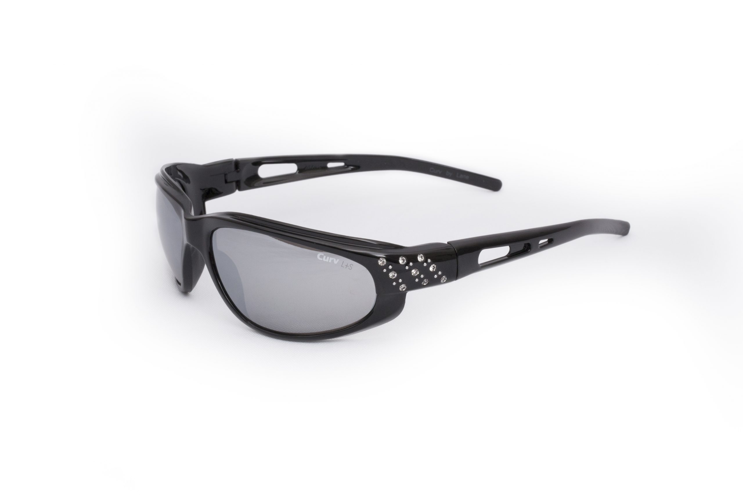01-43 - Curv Glossy Black Sunglasses with Smoke Lenses and Glossy Black Frames and Rhinestones