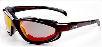 02-08 - CurvZ Maroon Foam-lined Sunglasses with Fire Red Lenses and Maroon Frames