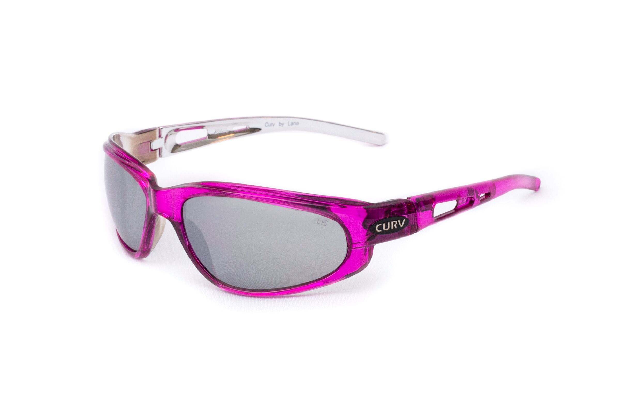 01-27 - Curv Crystal Pink Sunglasses with Flash Mirror Smoke Lenses and Crystal Pink Frames