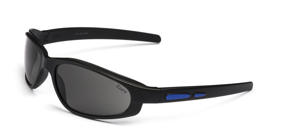 01-64M - Curv Blue Accent Sunglasses with Smoke Lenses and Matte Black Frames