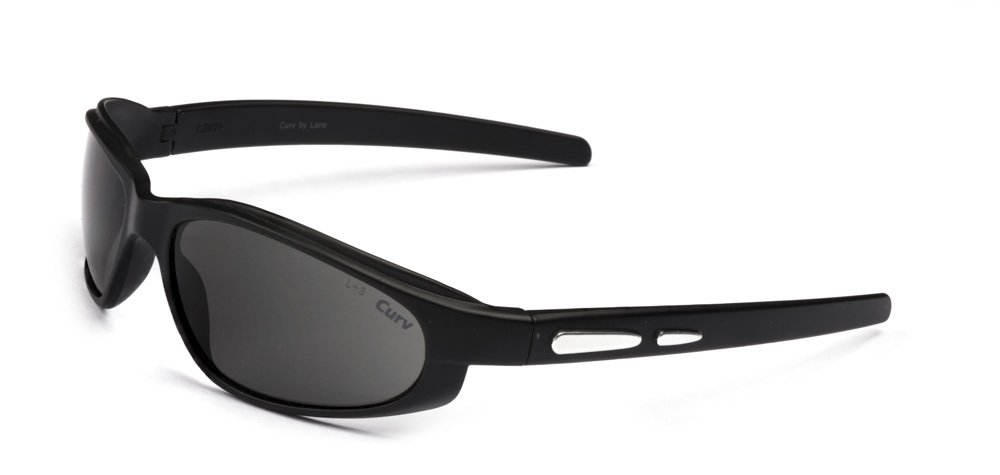 01-62 CurvEX Silver Glossy Sunglasses in Matte Black Frames with Smoke Lenses