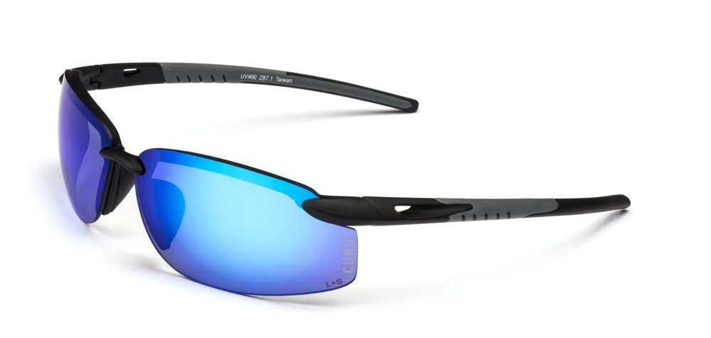 01-61 - Curv Rimless Blue Sunglasses with Matte Black and Grey Frames and Blue Lenses